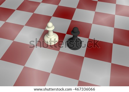 White And Black Pawn On A Noisy Red Chess Board, 3d illustration