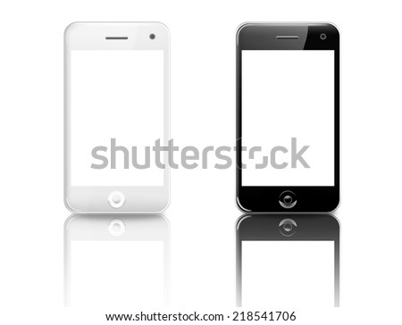 White and black smart phones (mobile phone) isolated on white background - stock photo