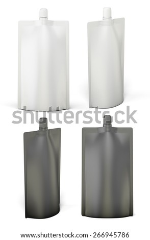 White and black template packages Doypack for your design. Bag packaging with lid. 3d illustration. - stock photo