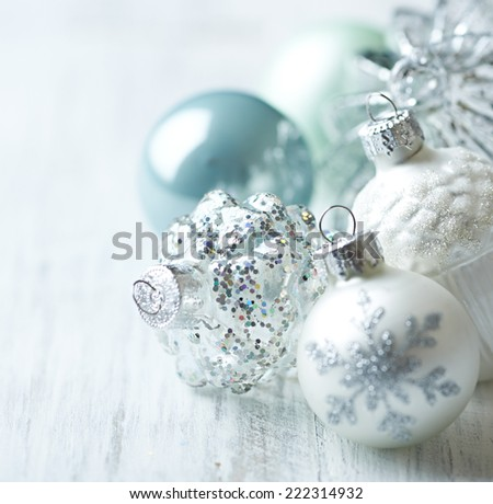 White and blue Christmas balls; close up - stock photo