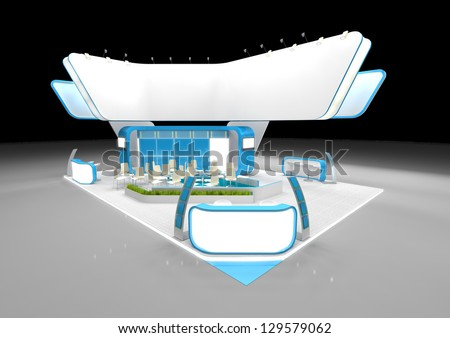 White and blue exhibition stand with large blank banner - stock photo