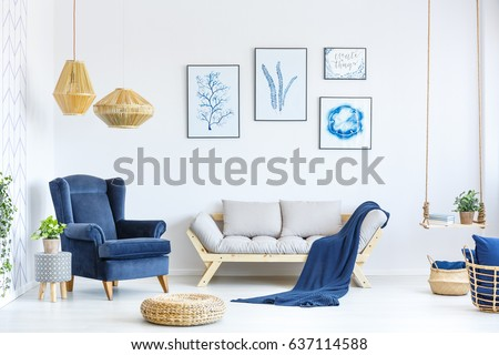 White And Blue Living Room With Sofa, Armchair, Lamp, Posters Part 84