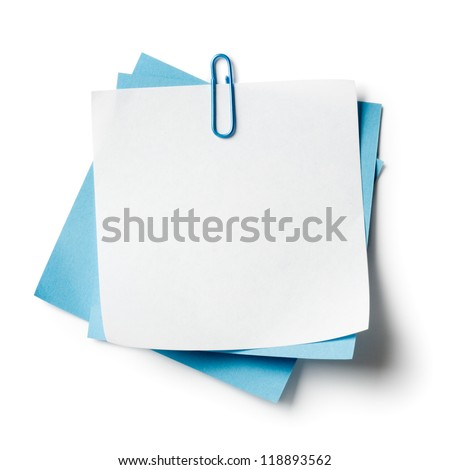 White and blue note papers with paperclip on white background - stock photo