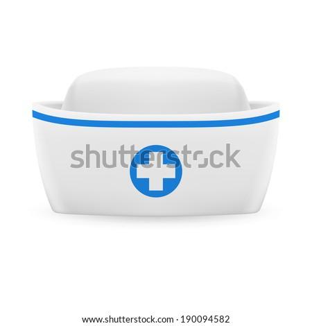 White and blue nurse cap on white background  - stock photo