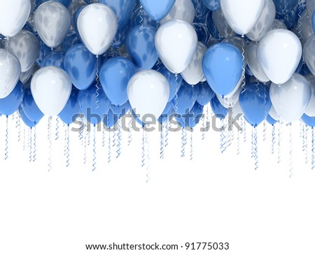 White and blue party balloons isolated on white - stock photo