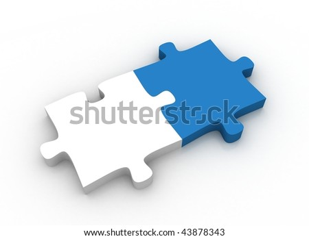White and blue puzzle pieces - stock photo