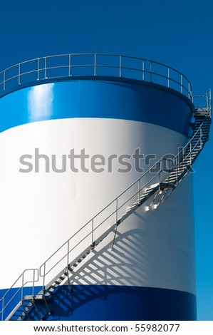 white and blue silo - stock photo
