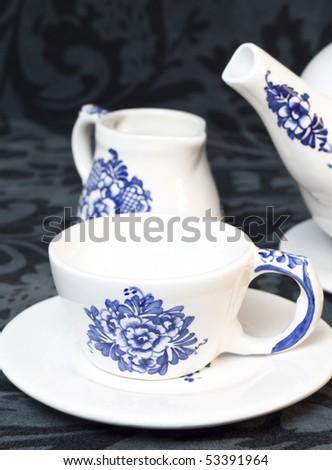 white and blue tea set - stock photo