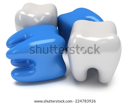 White and blue teeth isolated on white background. 3D render. Dental medicine health,  concept. - stock photo