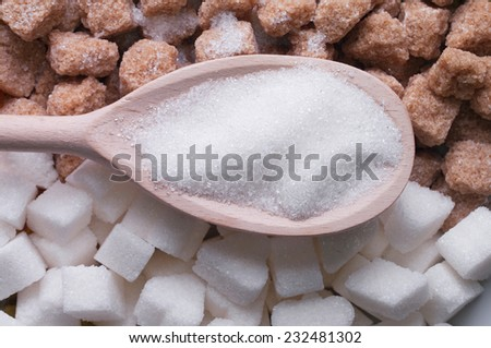 white and brown sugar close-up - stock photo
