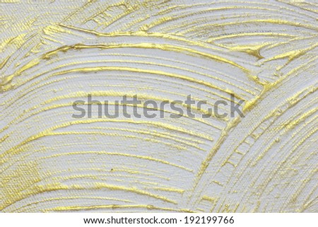 White and gold acrylic textured painting background  - stock photo