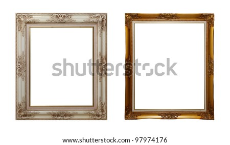 white and gold frames isolated on white - stock photo