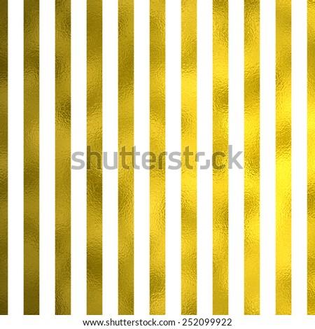 White and Gold Metallic Faux Foil Stripes Background Striped Texture - stock photo