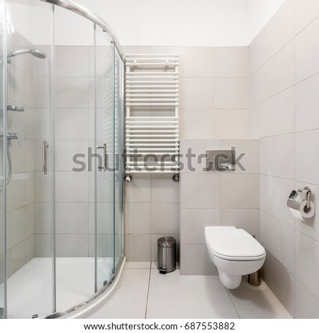 white and gray simple bathroom with shower and toilet - Simple Bathrooms With Shower