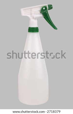 White and green plant sprayer. Isolated on gray. Clipping path included. - stock photo