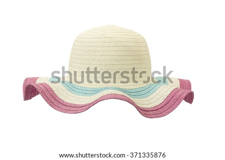 white and pink floppy hat isolated on white background - stock photo