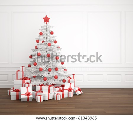 White and red christmas tree dacorated with a pile of presents in an empry white room, copy space placed right - stock photo