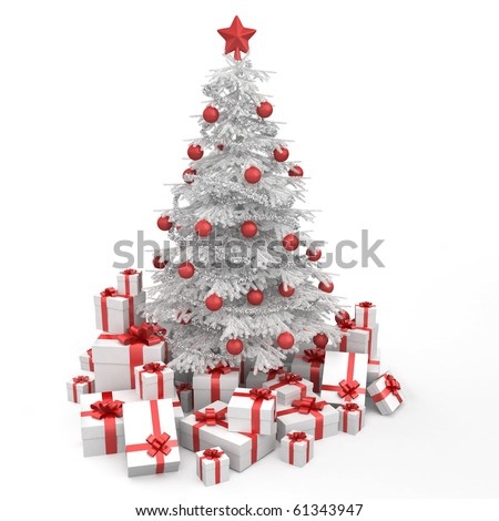 white and red christmas tree decorated with many presents and isolated on white