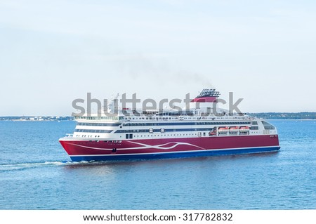 White-and-red cruise ferry in the Baltic Sea