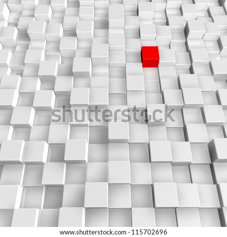 white and red cubes background - 3d illustration - stock photo