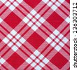 white and red gingham cloth background with fabric texture, - stock photo