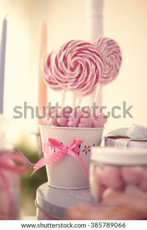 white and red lolly pops  - stock photo