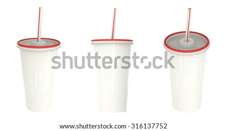 White and red plastic cup template for soda or cold beverage with drinking straw, isolated on white background. Packaging collection.Mock Up Template Ready For Your Design. - stock photo