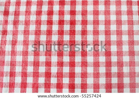White and red tablecloth - stock photo