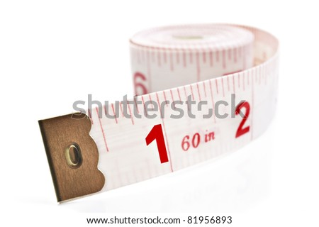White and red tape measure on a white background with space for text - stock photo