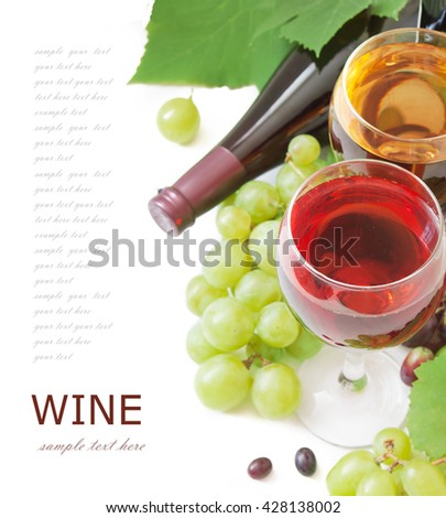 White and red wine in glasses, bottle and grapes with leaves isolated on white background - stock photo