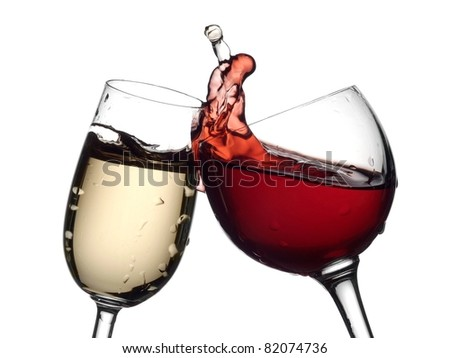 White and red wine up - stock photo