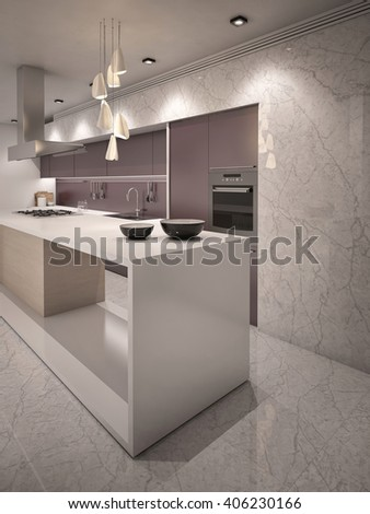 White and Violet Colors Contemporary Kitchen with Bar Counter top 3D rendering Camera  4 Evening