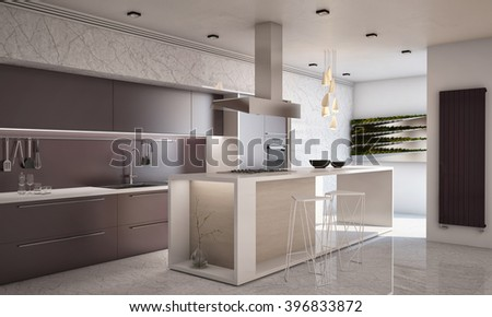 White and Violet Colors Contemporary Kitchen with Bar Countertop 3D rendering / 3D illustration - stock photo