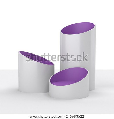 white and violet simple tube shape display  - stock photo