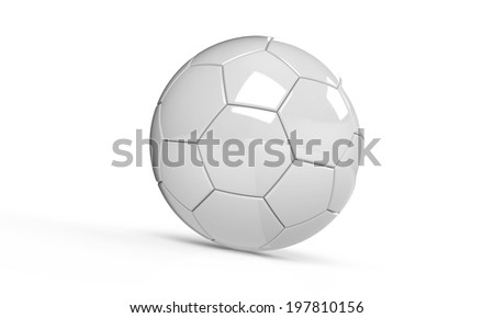 White and white football soccer ball isolated on white