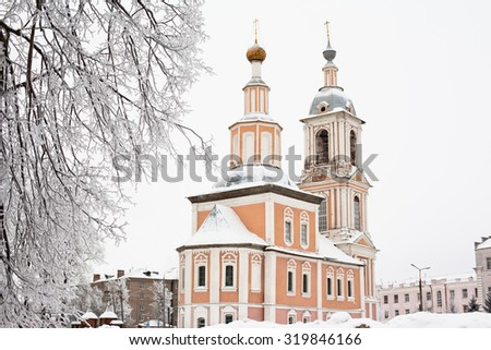 White and yellow church in winter in Uglich  - stock photo