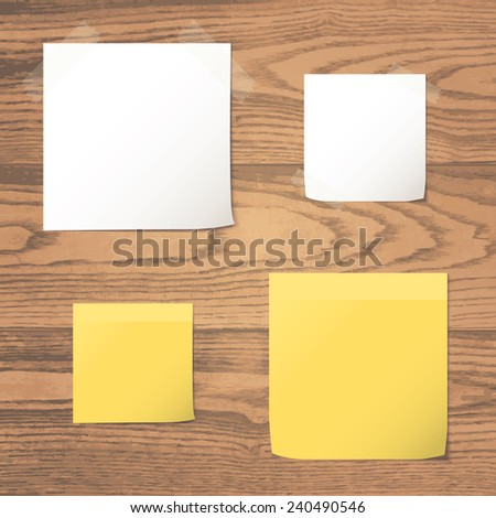 White and yellow folded paper set collections on realistic natural plank wood texture background. Raster version - stock photo