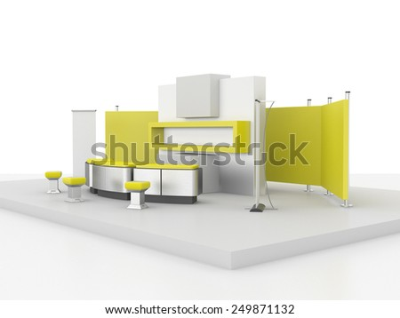 white and yellow stand or booth in a trade show. 3d render - stock photo