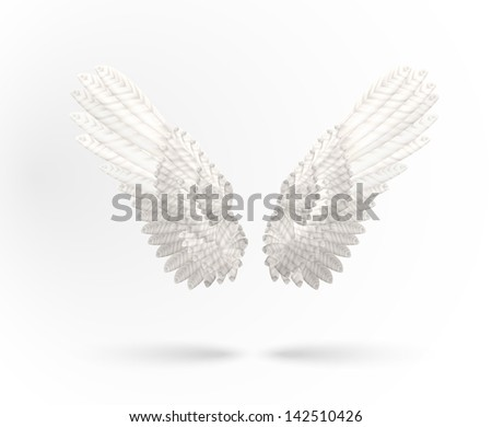 White Angel wings isolated on white background. See also vector version - stock photo