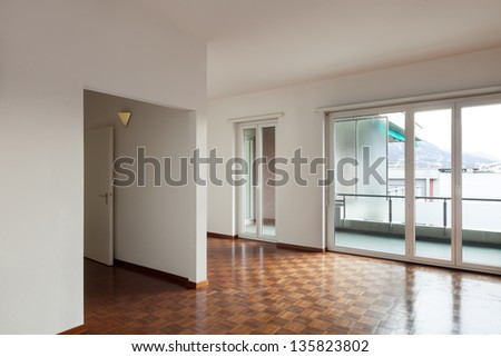 White apartment Interior, view large living room