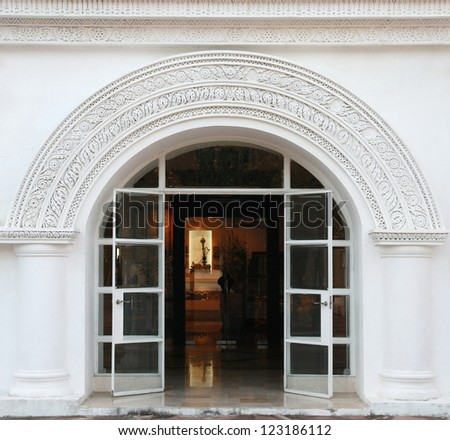 white arch, classic door - stock photo