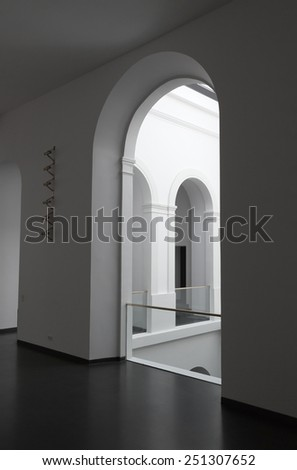 White arched walls inside contemporary building - stock photo