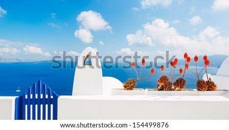White Architecture and Blue Ocean, Santorini Island, Greece - stock photo