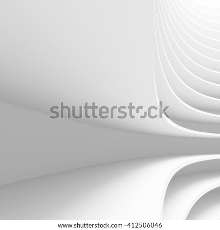 White Architecture Circular Background. Abstract Building Design. 3d Modern Architecture Render. Futuristic Building Construction - stock photo