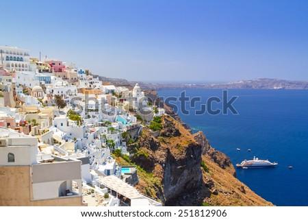 White architecture of Fira town on Santorini island, Greece - stock photo