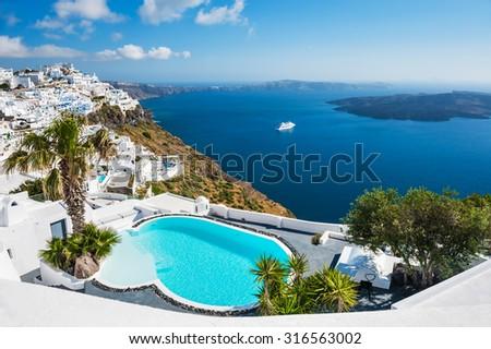 White architecture on Santorini island, Greece. Beautiful landscape with sea view. - stock photo