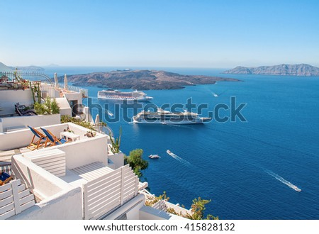 White architecture on Santorini island, Greece, Europe. Beautiful view on the sea. - stock photo