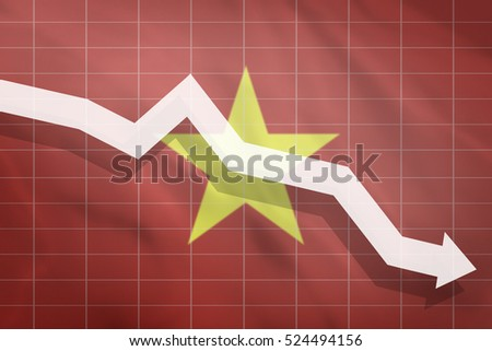 White arrow fall down on the background of the flag Vietnam