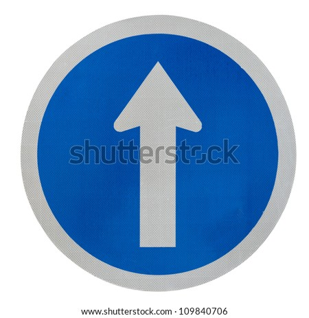 White  arrow on blue traffic sign on white background - stock photo