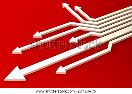 White arrows - stock photo